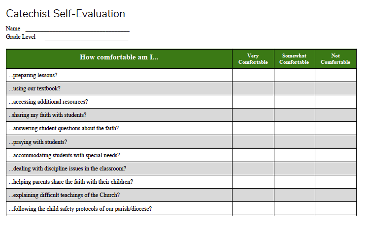 Catechist Self-Evaluation Assessment form - CATECHIST Magazine